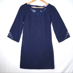 Lilly Pulitzer Navy Blue Sheer Silhouette Dress 10